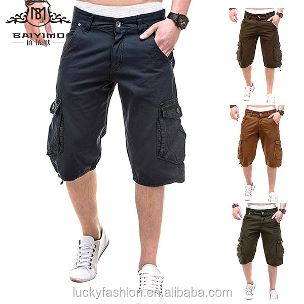 high quality 100% cotton wholesale pants mens 3/4 classic cargo shorts