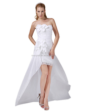2016 Simple design affordable strapless white satin slip empire wedding dress