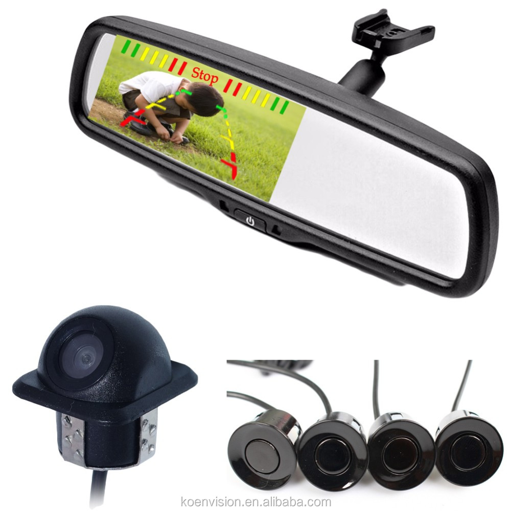 Car Rear View Mirror Parking Sensor With Reverse Camera