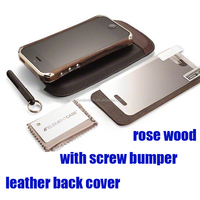 With screw high quality fashion rosewood bumper case + leather back cover for iphone 6 6 plus