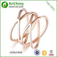 Wholesale new design jewelry rose gold engagement ring prices double finger ring for women