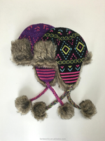 High Quality Wholesale diamond jacquard knitted winter trapper hat with faux fur lining