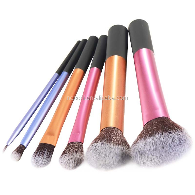 2017 Factory price professional 6pcs soft nylon hair portable cosmetic brush set with private logo