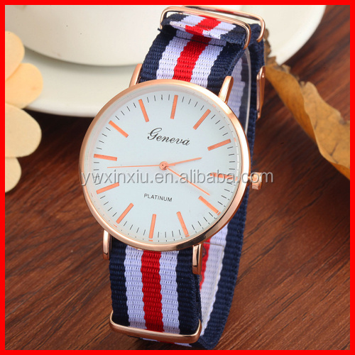 PVD Band 2016 Newest Fashion Geneva Watch Stainless Steel Back Big Face Lady Watch