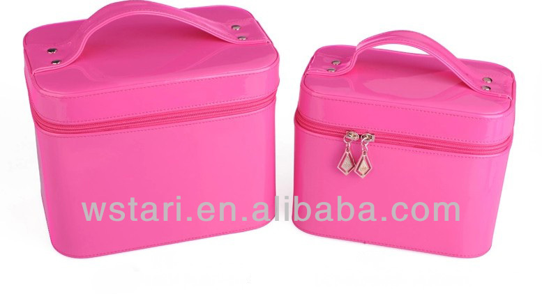 Pink Leather professional cosmetic case, Makeup Artists antique cosmetic case,leather hard makeup case