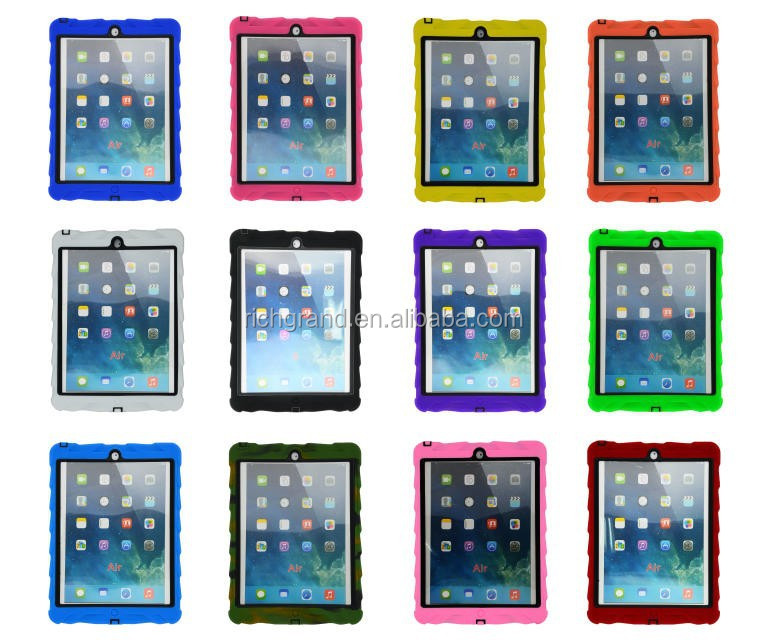 2016 Tyre style shockproof tread design silicon rubber stand case for ipad 5