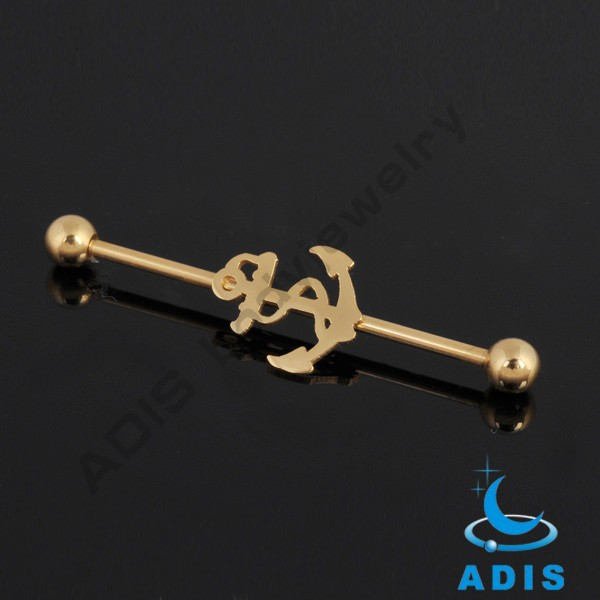 Powerful shoot arrows surgical steel Gold plated Industrial barbells cartilage jewelry