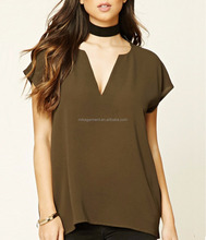MIKA27341 Army Green V Neck Loose Fit Tee Shirt Chiffon Women Apparel