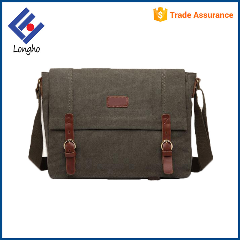 "Cheap canvas artificial leather buckle lock 14"" vintage laptop crossbody messenger bag for men"