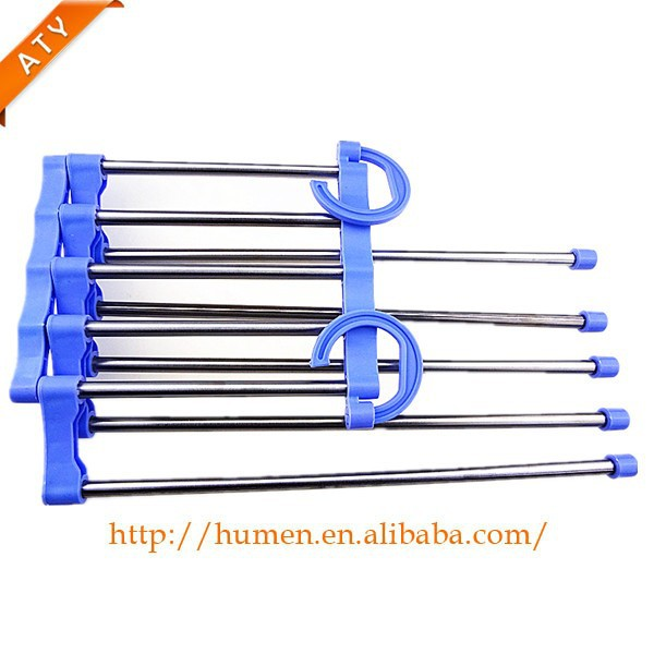 Plastic and Stainless Steel Foldable Wardrobe Trouser Rack