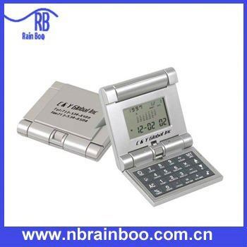 pocket foldable calendar calculator with timer alarm clock
