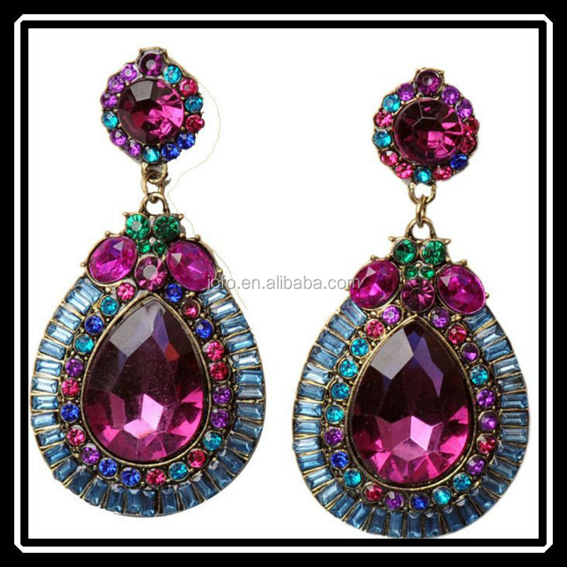 Wholesale Women Jewelry Drop Earrings Crystal Vivid Purple Cz Amethyst Crystal Drop Earrings
