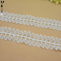 3 CM Cheap garment decorative embroidery crochet leaves neck lace trim