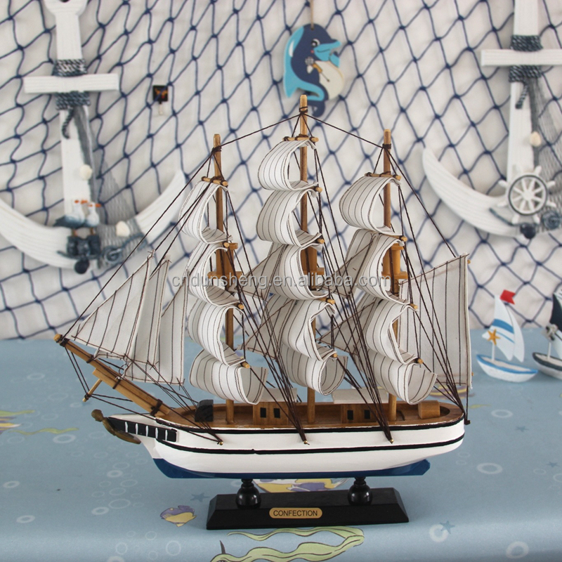 "Decorative Vintage Nautical Wooden Ship Wood Sailboat Home Model Decor- 13"" H- Beach Theme"