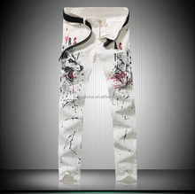 Hottest White Wolf Printed Denim Straight Skinny Jeans Mens Y034