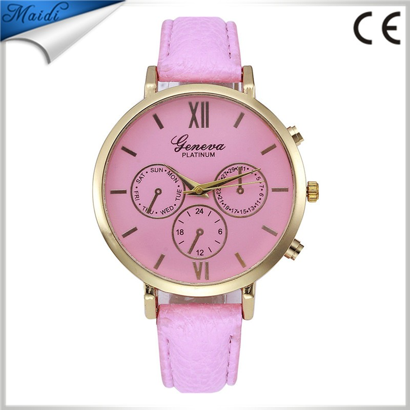 2017 Fashion Thin Leather Strap Geneva Brand Watches Women Dress Watches Relojes Mujer Quartz Watch Lady Clock GW0102