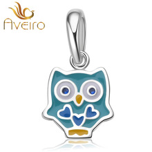 925 sterling silver enamel cartoon owl pendant charms fit fashion bracelets & necklace for women gifts jewelry