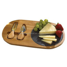 Bamboo Cutting Board wood Cheese Tray With 2 Piece Stainless Steel Cutlery Set Slate Cheese board