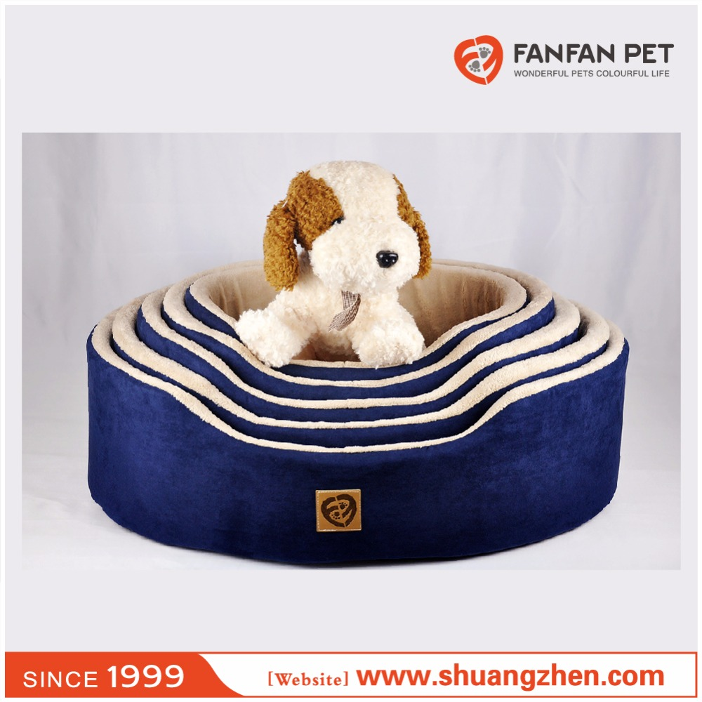 Micro suede baby terry foam oval basket for dog and cat-blue