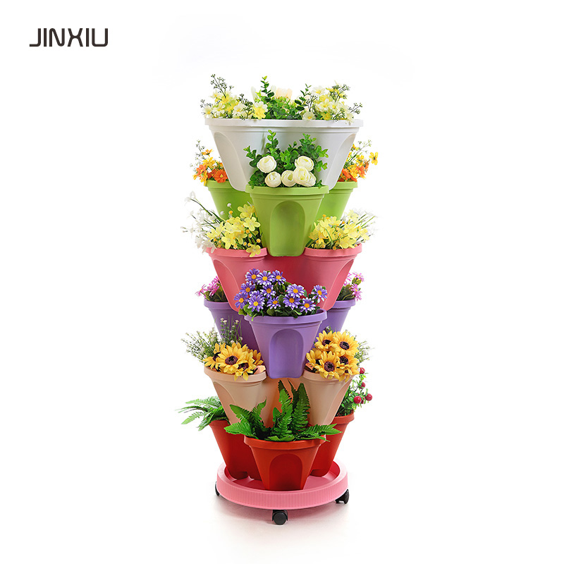 home & garden stackable planter plastic decorative pot stacking planter