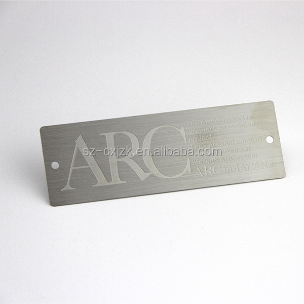 Custom logo etched stainless steel tags labels