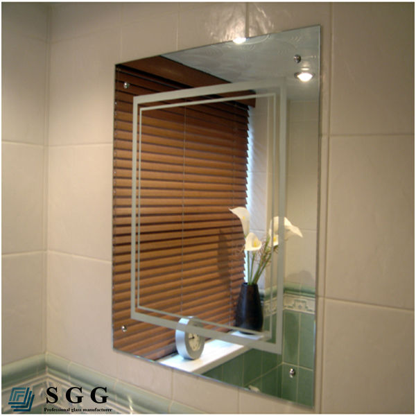 Cuarto de ba o sin marco biselado espejo rectangular for Espejos para pared grandes sin marco