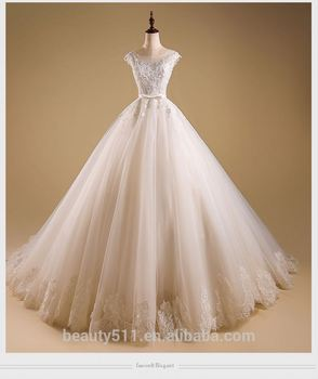 Hottest-selling charming Scoop neckline Short sleeves wedding dress TS103