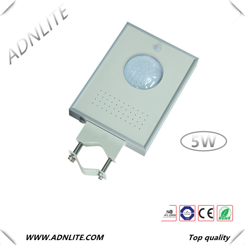 5W COB motion sensor led solar street light all in one with solar street light battery