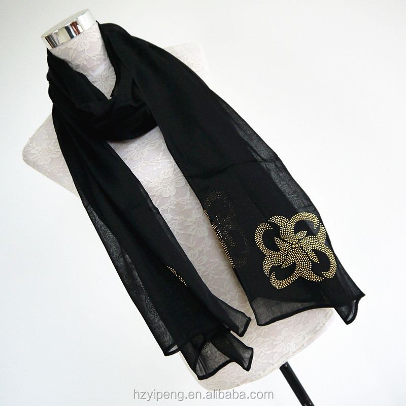 Smooth chiffon feeling rhinestone scarf black long hijab scarf 100 polyester women scarf