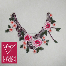 Hot sale iron on floral neck applique embroidery design