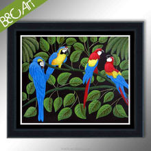 Modern animal painting home decor beautiful birds oil paintings of parrots