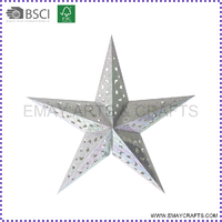 Good Quality Handmade Christmas Decorative Hanging Five Point Paper Star