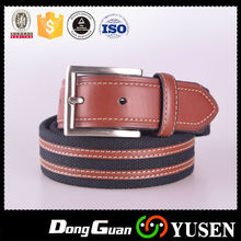 High Quality Fashion Men Leather Ends Canvas Jean Belt