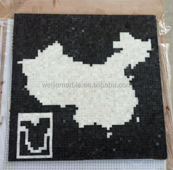 Black and white marble square shaped decorative mosaic pattern wall hanging picture pattern