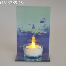 popular glass candlestick with a shark image as table decoration