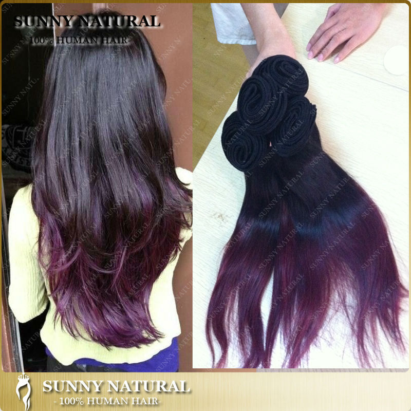 1bpurple Ombre Brazilian Virgin Hair Extensions Two Tone Real Human