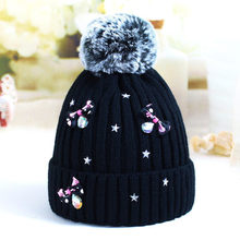 Lovely Bow tie Hairball Children's Caps Bonnet Beanies Knitted Hat Skullie Hats Winter Warm Girls Protect the Ears Warm Caps