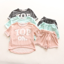 YE7123 summer children clothes letters printing t-shirt + shorts sport boys girls suit