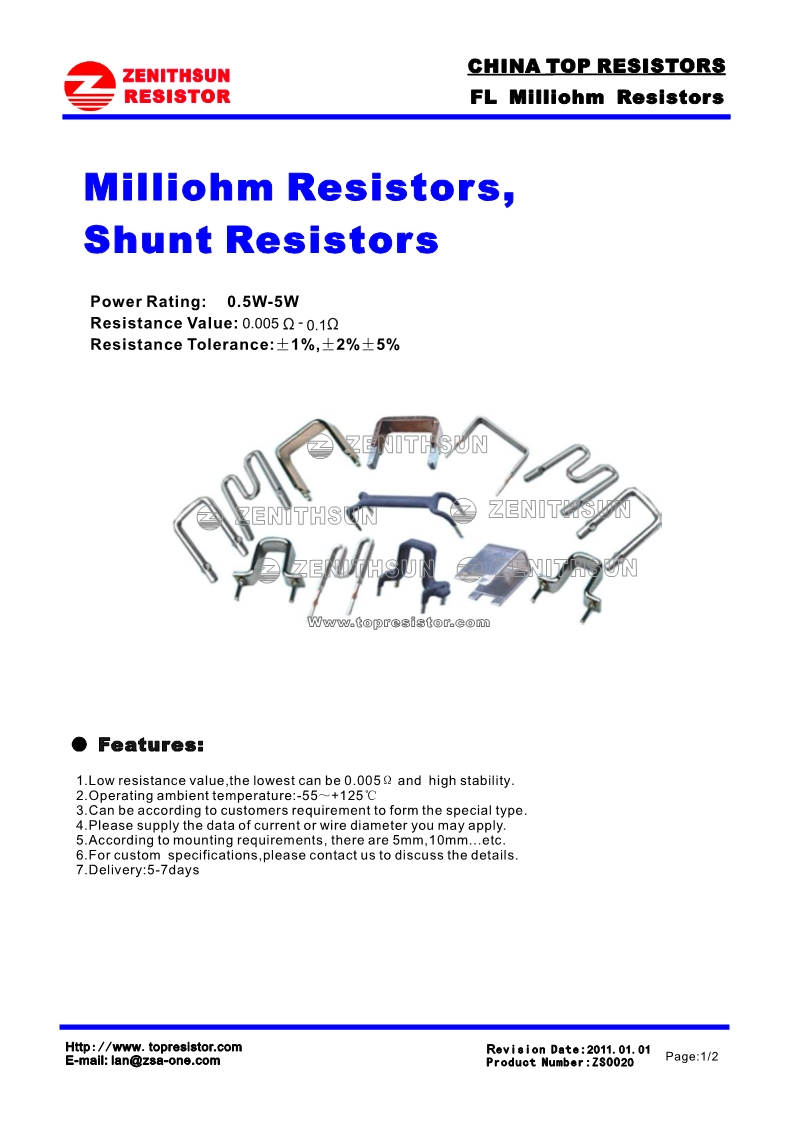 Milliohm Resistor Current Sense Shunt Buy Working Of Resistors 2 1