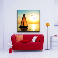 Sailboat and sunset beautiful natural scenery decoration canvas art painting