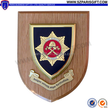 fire service veteran bravery insigne wooden shields with base