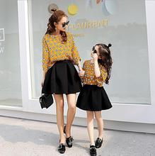 X62325A summer family matching clothes red yellow floral t-shirt and black skirt casual 2pcs sets