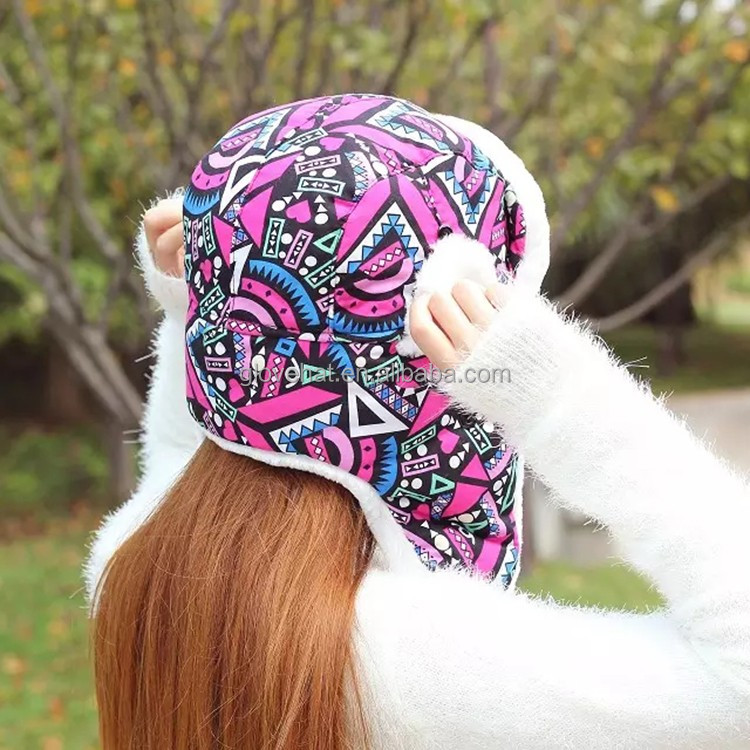 2017 new design yiwu china wholesale knit bomber winter hat Trapper Hat print graffiti hat