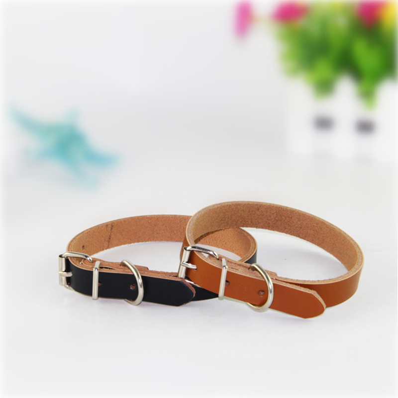 M Size Adjustable Size: 29-38 Cm Pet Genuine Leather Collar Dog Collar Leather