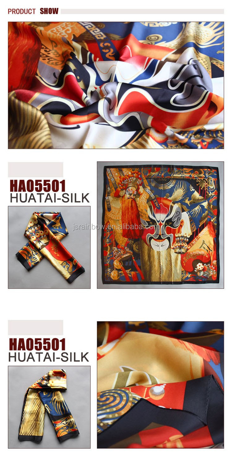 2016 new arrival eastern design Peking opera makeups silk scarves wholesale