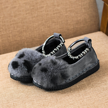 New Fashionable Armlets Autumn and Winter Kids Plush Princess Leopard Print Nude Shoes