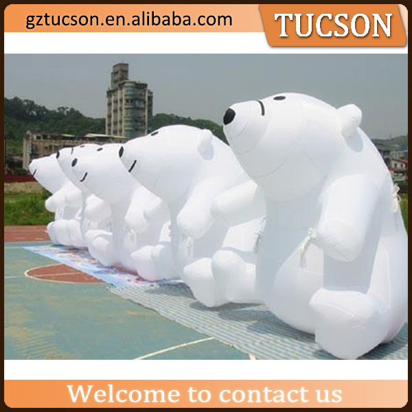 White factory price custom made giant inflatable polar bear for display