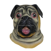 X-MERRY Halloween Deluxe Pug Mask Dog Lover Pooch Costume Latex Adult Gag Gift Novelty