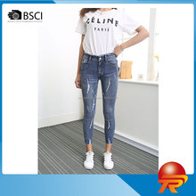 Fashion Custom Skinny Women's Jeans Trousers Top Selling Ripped Denim Jeans Pants trousers for female