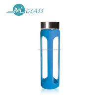 550ml borosilicate glass bottle water bottle drink bottle with lid and silicone sleeve N6395